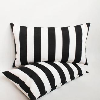 Подушка в полоску, декоративная черно-белая подушка, интерьерная подушка, подушка геометрия черная