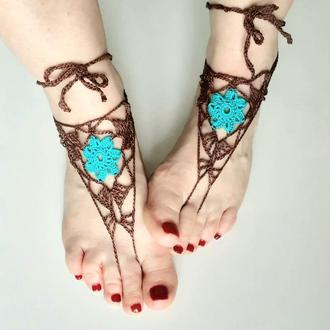 Пляжное украшение на ноги Сандалии вязаные  Декоративное вязаный слейв браслет на ноги