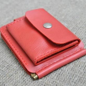 Зажим для денег красного цвета из натуральной кожи Z07-580