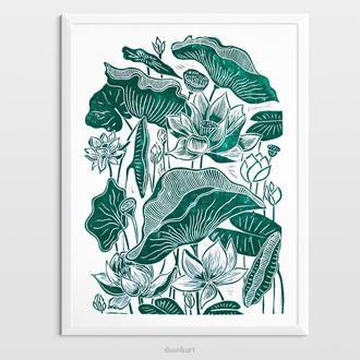 Інтер'єрна картина(гравюра) «Квіти лотоса» в стилі ботаніка