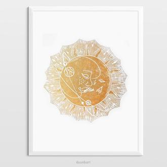 Интерьерная картина(гравюра) «Поцелуй» в золотом цвете
