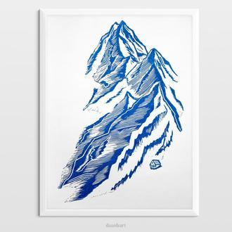 Интерьерная картина(гравюра) «Домик в горах» в синем цвете