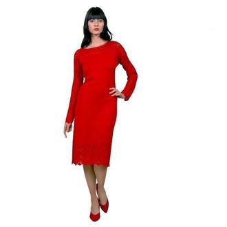 Смелое красное платье (вязанное).
