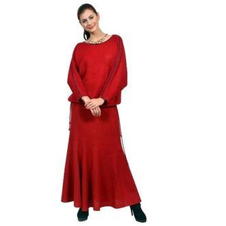 Вязаный деловой комплект (юбка и полувер).