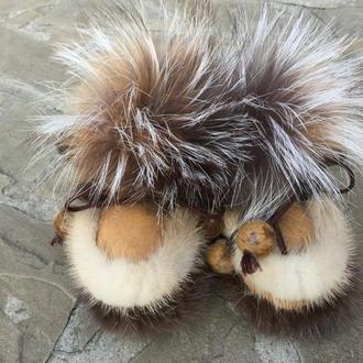 Меховые ботиночки- пинетки