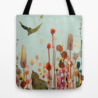 Эко сумка learning to fly. Сумка из ткани шоппер, тряпичная сумка. Летняя сумка из льна с рисунком