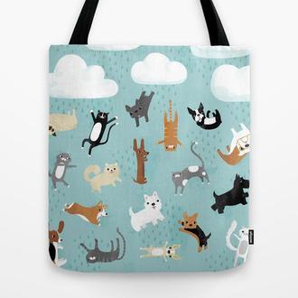 Эко сумка Кошки и Собаки. Стильная сумка из ткани шоппер, тряпичная сумка. Молодежная летняя сумка