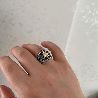 Кольцо роза ветров из серебра ручной работы красивое и необычное
