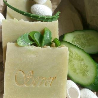 """Натуральное мыло """"Огурец-Алоэ-Шёлк"""" сварено на огуречно-алоевом соке с добавлением коконов шелкопряд"""