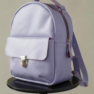 Женский мини-рюкзак ручной работы из натуральной кожи с легким глянцевым эффектом лавандовог