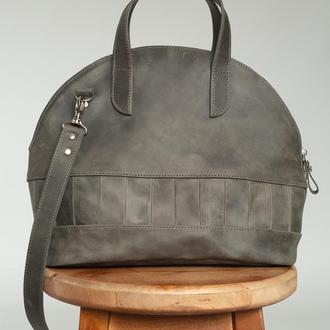 Женская сумка бриф кейс из натуральной кожи с винтажным эффектом темно-серого цвета