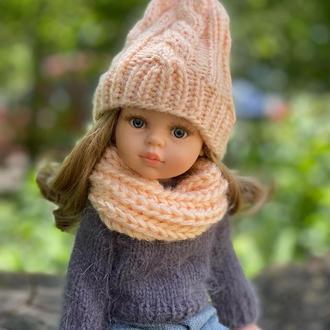 Вязаная шапка и шарф для куклы Паола Рейна 32 см, Одежда для Paola Reina