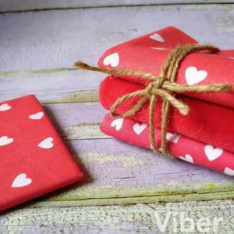 Набор ткани для рукоделия красные сердечки и велюр