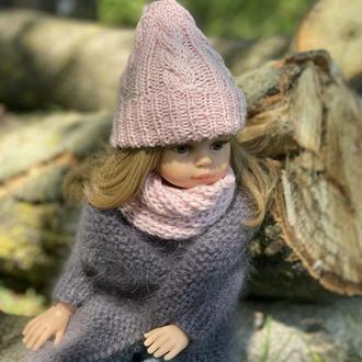 Вязаная шапочка и шарфик для куклы Paola Reina, Вязаная одежда для Паолы Рейна 32 см