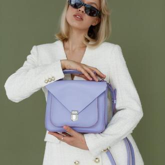 Женская деловая сумка из натуральной кожи c легким глянцем лавандового цвета