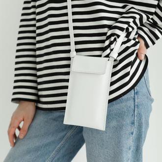 Миниатюрная сумка-чехол для телефона из натуральной кожи с матовым эффектом белого цвета