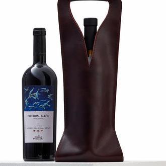 Бордова сумка для 1 пляшки з італійської шкіри