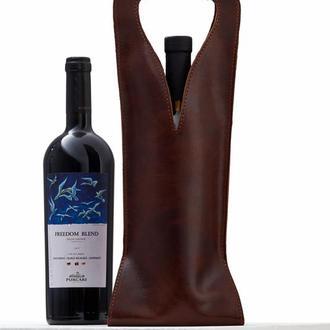 Коричнева сумка для 1 пляшки з італійської шкіри