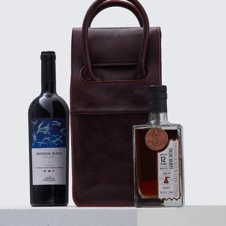 Бордова сумка на 2 пляшки з італійської шкіри