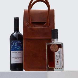 Світло-коричнева сумка на 2 пляшки з італійської шкіри