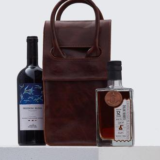 Коричнева сумка на 2 пляшки з італійської шкіри