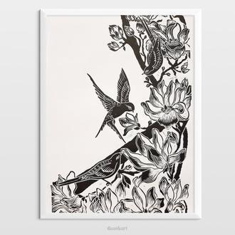 Інтер'єрна картина(гравюра) «Магнолії з пташками» в стилі ботаніка