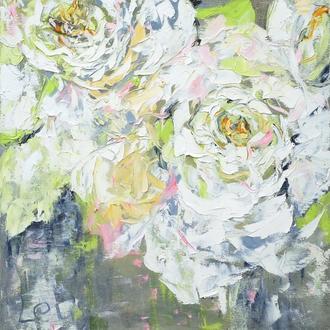 """Современная картина """"Нежные белые цветы"""" на холсте маслянными красками 50*50 см"""