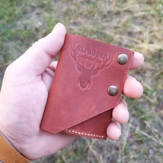 мини кошелек, для купюр в сложенном виде из кожи