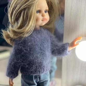 Вязаный свитер-кофточка для куклы Паола Рейна 32 см, Одежда для Paola Reina