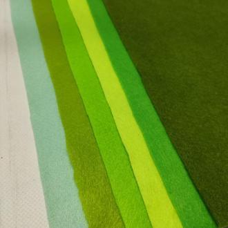 Набор фетра мягкого 1.4 мм, 6 шт зеленые цвета