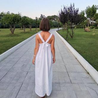 Белый летний сарафан хлопок размер XS, платье с кружевом для отпуска