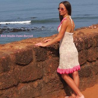 Кружевное вязаное платье из хлопка В НАЛИЧИИ, летний сарафан ажурный