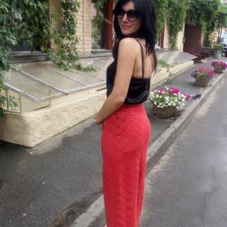 Юбка красная кружевная Юбка миди ажурная цвета терракота Вязаная ажурная кружевная юбка