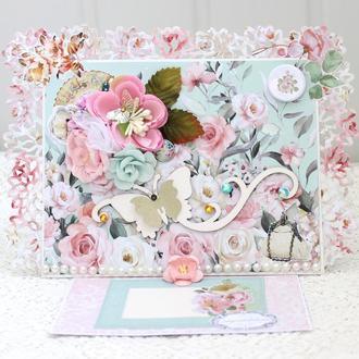 Большая открытка, женская открытка , открытка С Днем Рождения