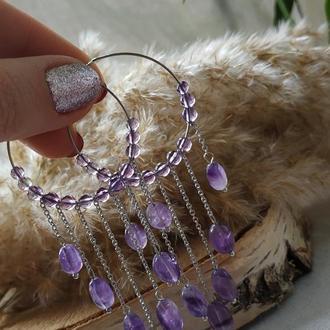Серьги - кольца с натуральным аметистом ′Лиловые сны′