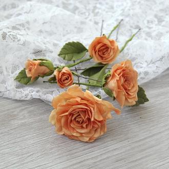 Шпильки с оранжевыми розами. Заколка с цветами. Цветы в прическу.
