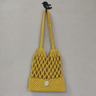Желтая сумка макраме Авоська