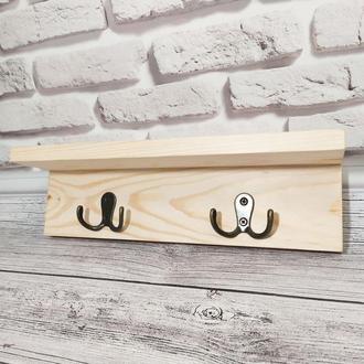 Настенная вешалка в прихожую с крючками для одежды, ключей