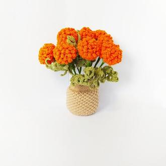 Декоративный вязаный крючком букет календулы цветочная композиция декор дома декор интерьера