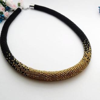 Жгут из бисера черное с золотым Вечернее нарядное  колье для особых случаев