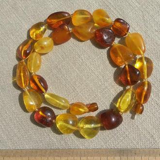 Шикарные янтарные бусы, яркое ожерелье из натурального янтаря