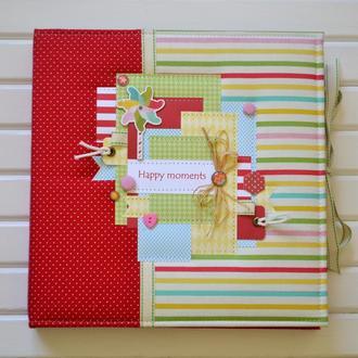 Яркий детский фотоальбом, беби-бук, красный альбом для девочки, фотобук, альбом первого года