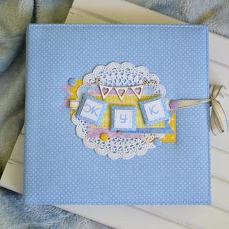 Голубой альбом для малыша, детский фотоальбом, скрапальбом для новорожденного, альбом для мальчика