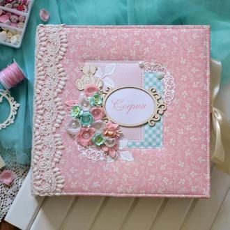 Альбом для новорожденной, скрапальбом на заказ, скрапбук для малышки, беби-бук, розовый фотоальбом