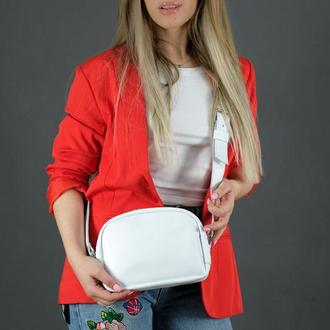 """Кожаная женская сумочка """"Виола"""", гладкая кожа, цвет белый"""