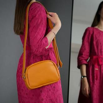 """Кожаная женская сумочка """"Виола"""", кожа Grand, цвет янтарь"""