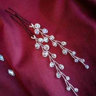 Пара хрустальных шпилек для невесты, выпускной, свадьба, украшение для волос