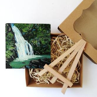 Водопад картина маслом, Красивый водопад, Картина тропический водопад, Картина с водопадом