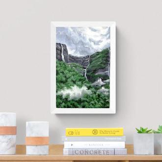 Картина маслом гора, Гірський водоспад, Тропічний острів, Картина водоспад
