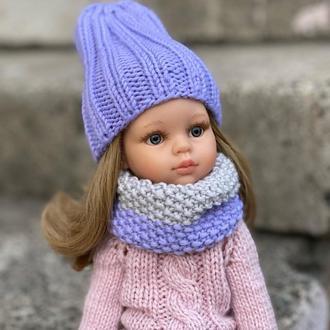 Вязаная шапка и снуд для Паола Рейна, Одежда на Paola Reina, Шапочка и шарф для куклы Паола Рейна